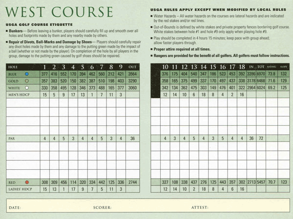 Country Club of Miami - West scorecard